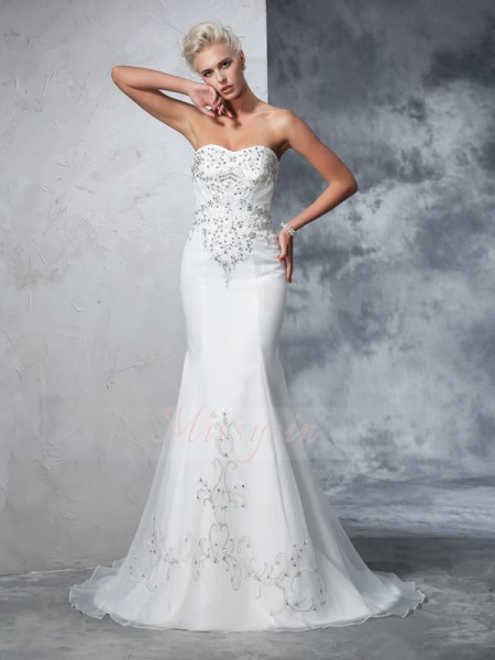 Trumpet/Mermaid Satin Sweetheart Sleeveless Beading Court Train Wedding Dresses