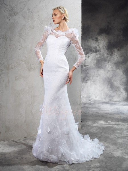 Sheath/Column Satin Sheer Neck Long Sleeves Hand-Made Flower Court Train Wedding Dresses
