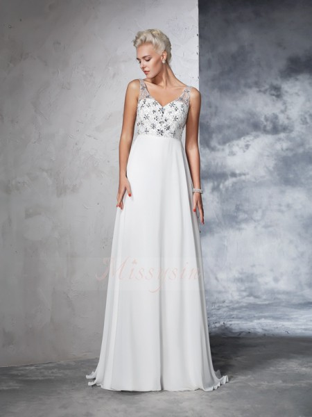 A-Line/Princess Chiffon V-neck Sleeveless Beading Sweep/Brush Train Wedding Dresses