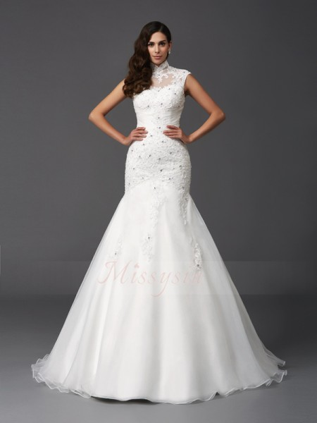 Trumpet/Mermaid Organza High Neck Sleeveless Beading Sweep/Brush Train Wedding Dresses