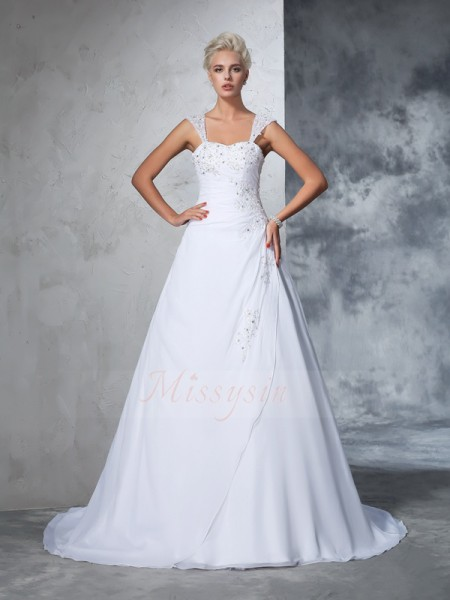 Ball Gown Chiffon Straps Sleeveless Applique Court Train Wedding Dresses
