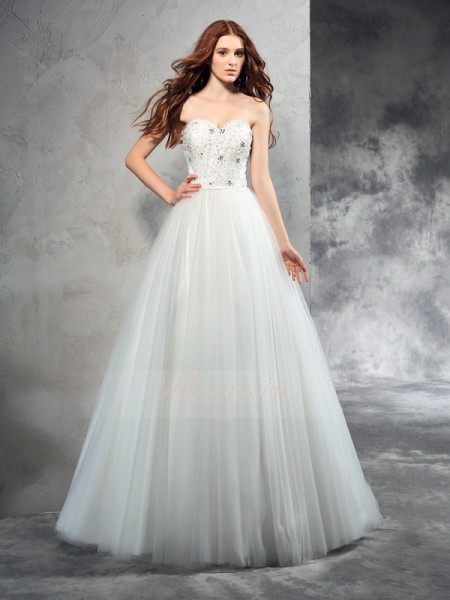 A-Line/Princess Net Sweetheart Sleeveless Beading Floor-Length Wedding Dresses