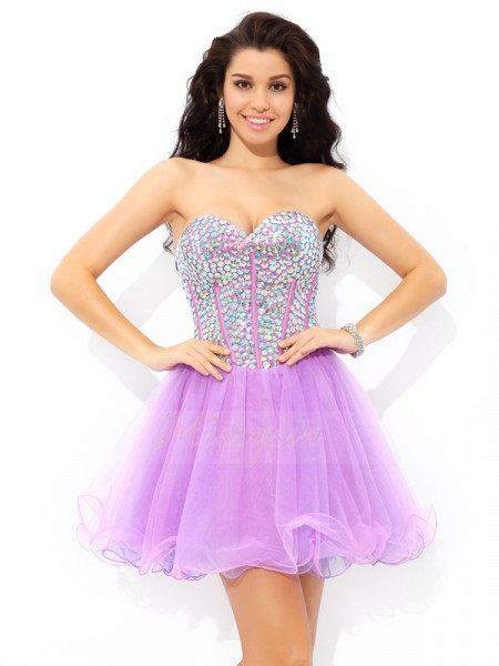 A-Line/Princess Net Sweetheart Sleeveless Paillette Short/Mini Cocktail Dresses