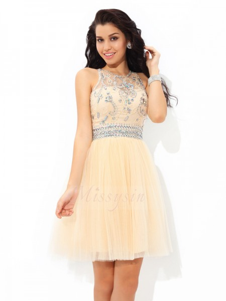 A-Line/Princess Net Sheer Neck Sleeveless Beading Short/Mini Cocktail Dresses