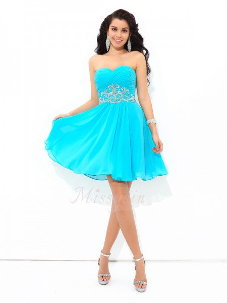 A-Line/Princess Chiffon Sweetheart Sleeveless Pleats Short/Mini Cocktail Dresses