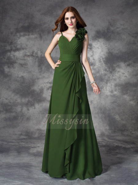 A-line/Princess Chiffon V-neck Sleeveless Hand-Made Flower Floor-length Bridesmaid Dresses