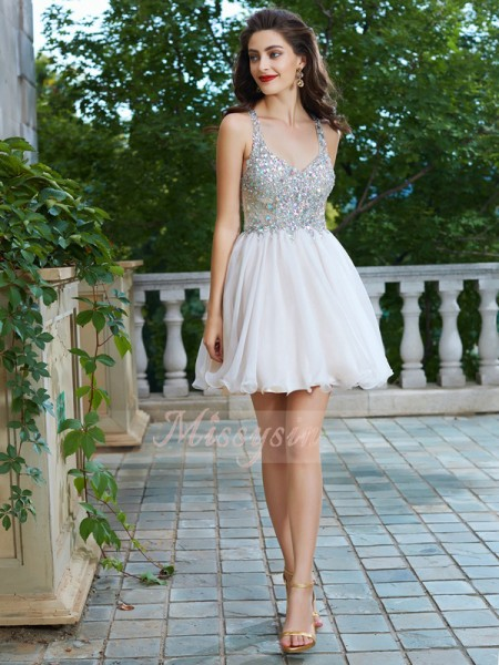 A-Line/Princess Sleeveless Short/Mini Rhinestone Straps Chiffon Dresses