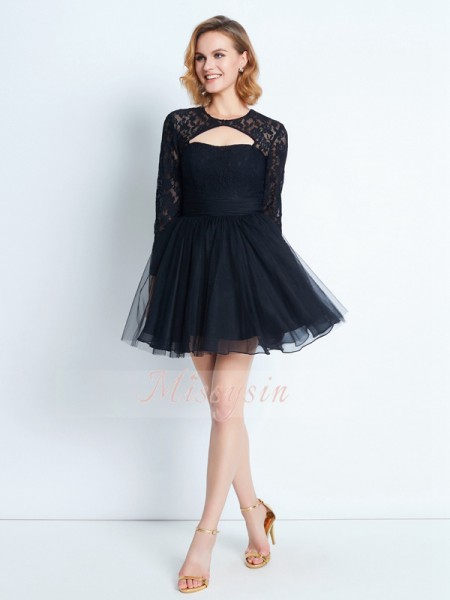 A-Line/Princess Long Sleeves Lace Short/Mini High Neck Net Dresses