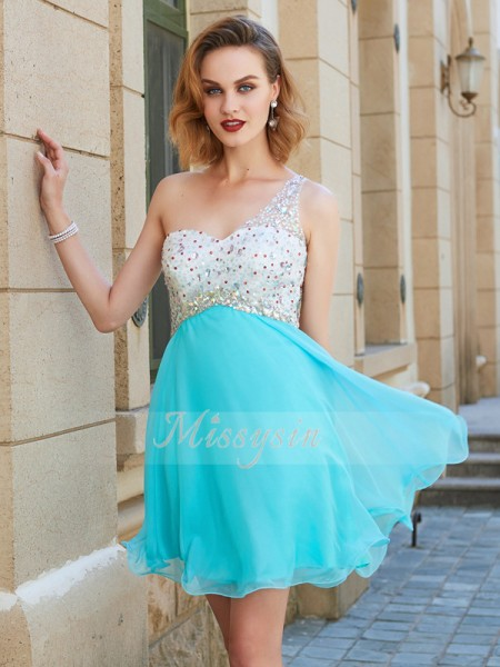 A-Line/Princess Sleeveless Beading One-Shoulder Short/Mini Chiffon Dresses