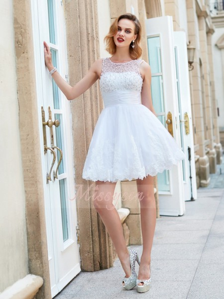 A-Line/Princess Sleeveless Short/Mini Pearls Jewel Lace Dresses