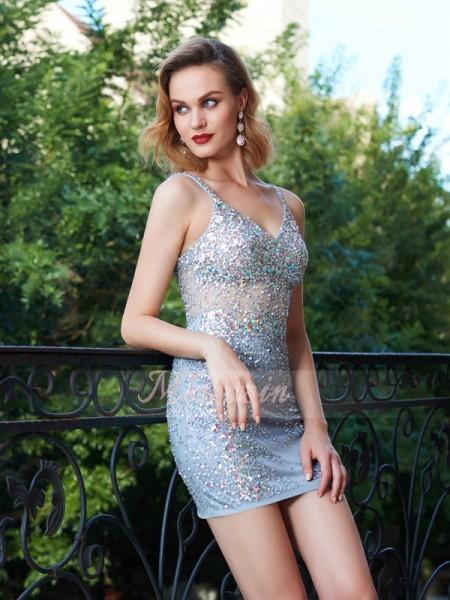 Sheath/Column Sleeveless Sequin Spaghetti Straps Net Short/Mini Dresses