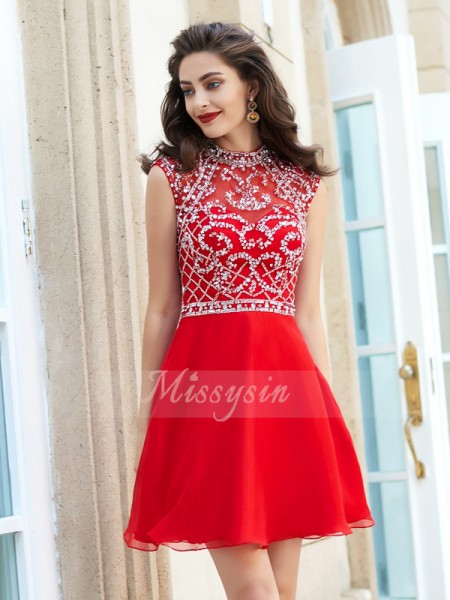 A-Line/Princess Beading Short/Mini Sleeveless High Neck Chiffon Dresses