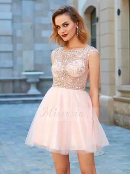 A-Line/Princess Short Sleeves Beading Scoop Net Short/Mini Dresses