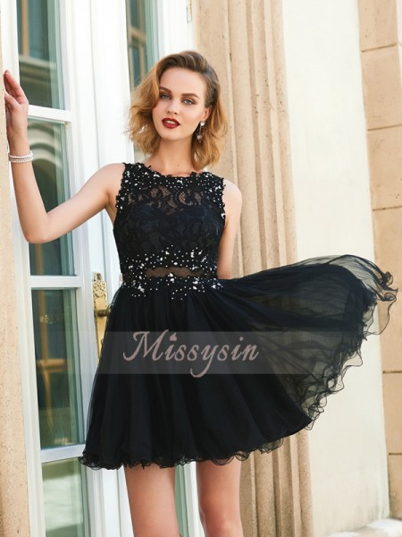 A-Line/Princess Sleeveless Short/Mini Lace Jewel Net Dresses
