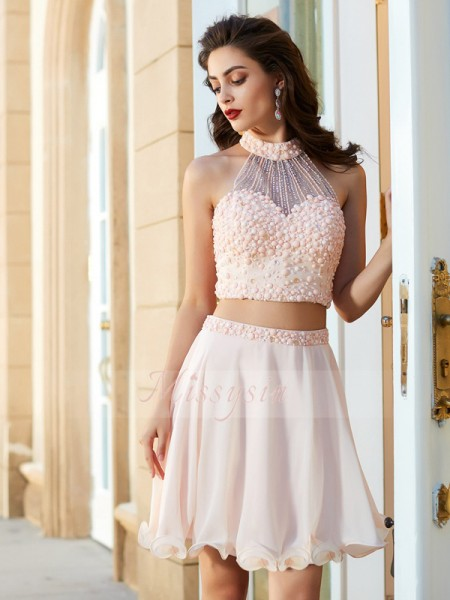 A-Line/Princess Sleeveless Beading Halter Chiffon Two Piece Short/Mini Dresses