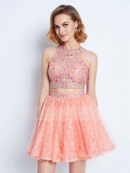 A-Line/Princess Short/Mini Lace Jewel Sleeveless Two Piece Dresses