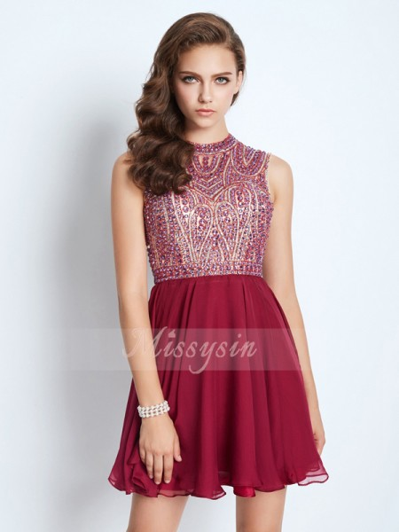 A-Line/Princess Sleeveless Short/Mini Beading Jewel Chiffon Dresses