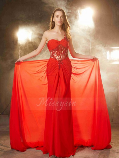 Sheath/Column Sleeveless Chiffon Sweep/Brush Train Beading One-Shoulder Dresses
