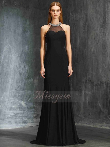 Sheath/Column Sleeveless Jewel Spandex Sweep/Brush Train Beading Dresses