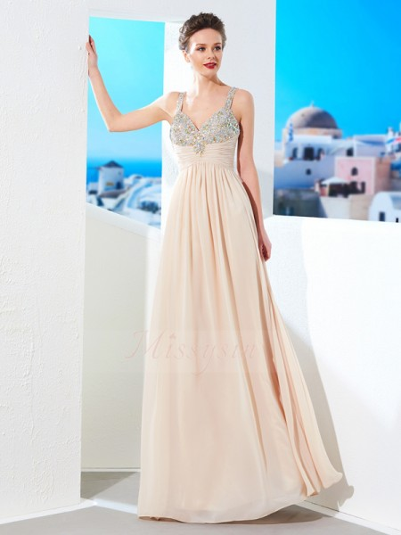A-Line/Princess Spaghetti Straps Chiffon Floor-Length Beading Sleeveless Dresses