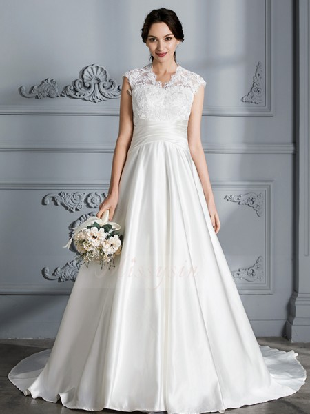 Ball Gown V-neck Sleeveless Court Train Ivory Satin Wedding Dresses