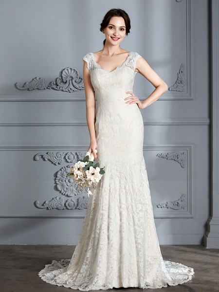 Trumpet/Mermaid V-neck Sleeveless Sweep/Brush Train Ivory Lace Wedding Dresses