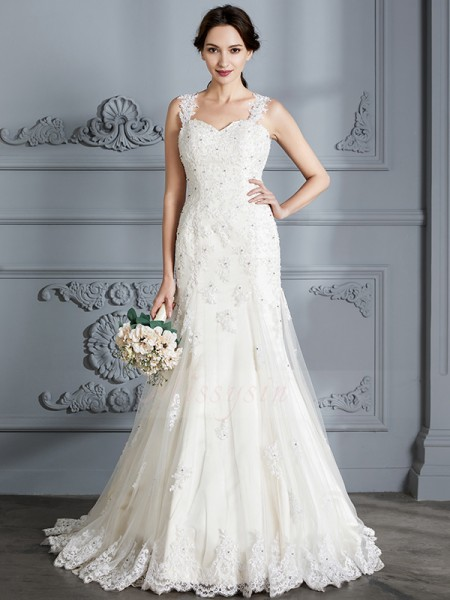 Trumpet/Mermaid Sweetheart Sleeveless Ivory Lace Court Train Wedding Dresses