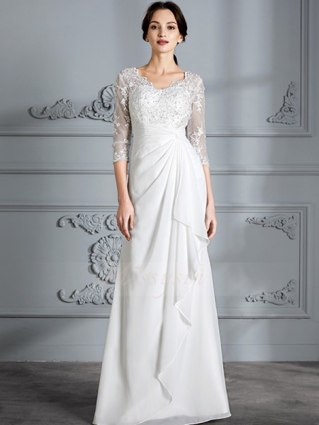 Sheath/Column 3/4 Sleeves Floor-Length V-neck Ivory Chiffon Wedding Dresses