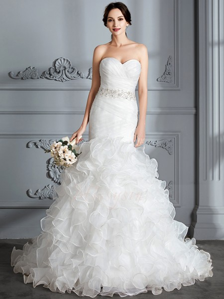 Trumpet/Mermaid Sweetheart Sleeveless Ivory Satin Sweep/Brush Train Wedding Dresses