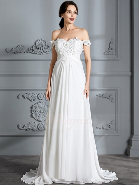 A-Line/Princess Off-the-Shoulder Sleeveless Floor-Length Ivory Chiffon Wedding Dresses