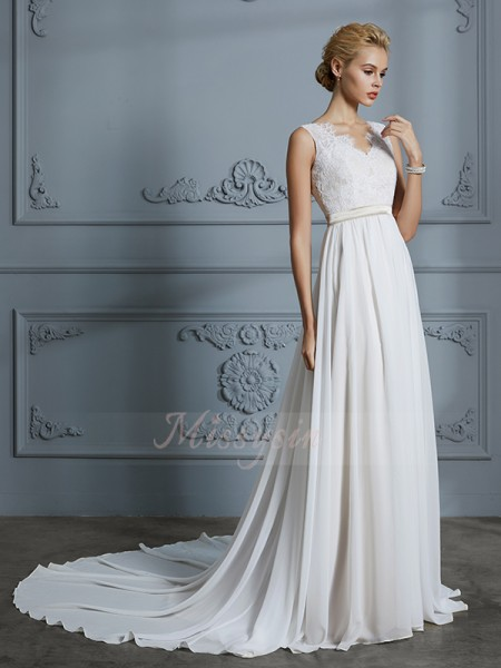 A-Line/Princess Sleeveless Court Train V-neck Ivory Chiffon Wedding Dresses
