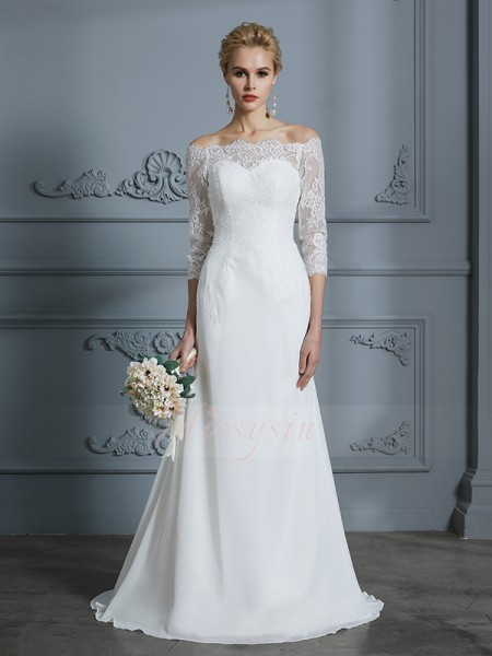 Trumpet/Mermaid Off-the-Shoulder 1/2 Sleeves Sweep/Brush Train Ivory Chiffon Wedding Dresses