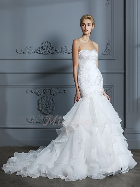 Trumpet/Mermaid Sleeveless Sweep/Brush Train Sweetheart Ivory Organza Wedding Dresses