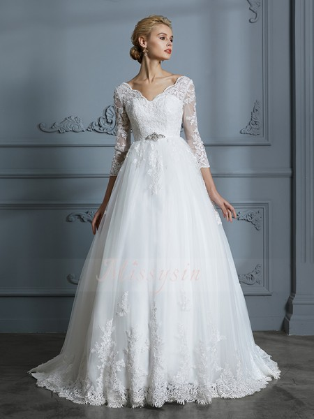 Ball Gown V-neck 3/4 Sleeves Court Train Ivory Tulle Wedding Dresses