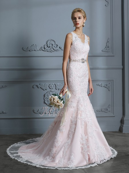 Trumpet/Mermaid V-neck Court Train Sleeveless Pink Tulle Wedding Dresses