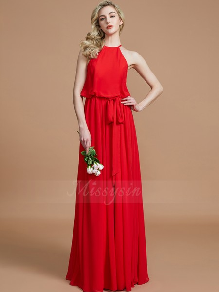A-Line/Princess Sleeveless Sash/Ribbon/Belt Floor-Length Chiffon Halter Bridesmaid Dresses