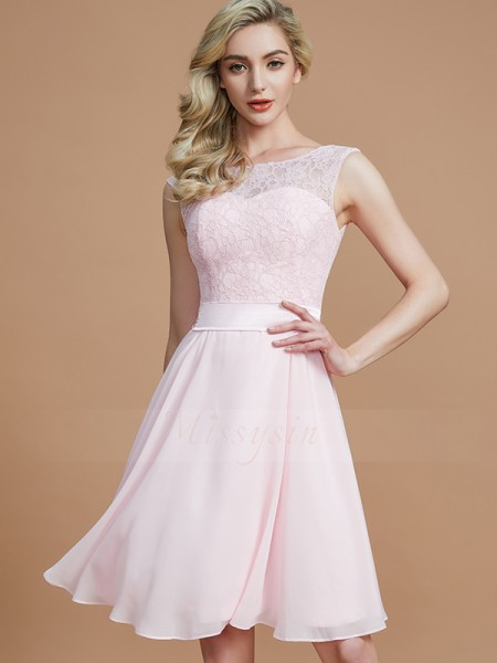 A-Line/Princess Sleeveless Short/Mini Chiffon Bateau Bridesmaid Dresses