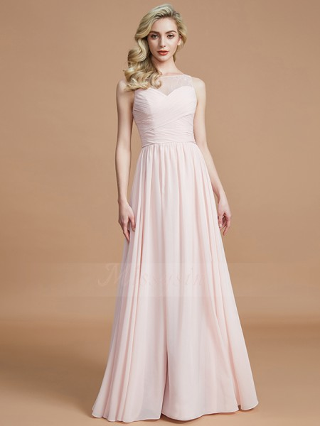 A-Line/Princess Sleeveless Ruched Floor-Length Chiffon Bateau Bridesmaid Dresses