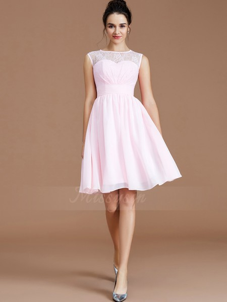 A-Line/Princess Sleeveless Short/Mini Chiffon Sweetheart Bridesmaid Dresses