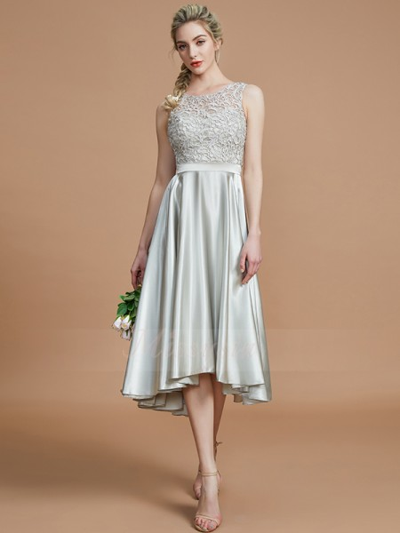 A-Line/Princess Sleeveless Ruffles Asymmetrical Silk like Satin Bateau Bridesmaid Dresses