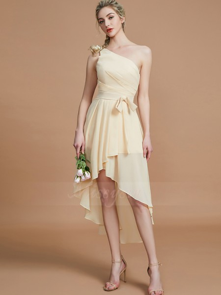 A-Line/Princess Sleeveless Layers Asymmetrical Chiffon One-Shoulder Bridesmaid Dresses