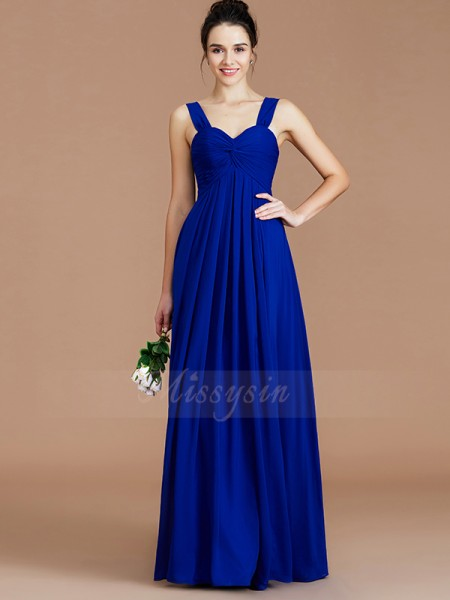 Empire Sleeveless Ruched Floor-Length Chiffon Sweetheart Bridesmaid Dresses