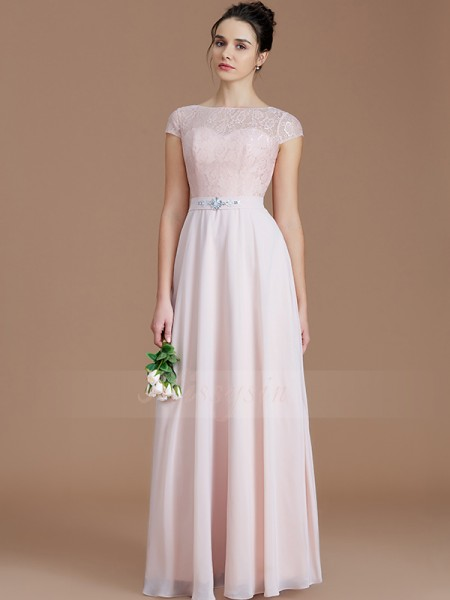 A-Line/Princess Sleeveless Floor-Length Chiffon Bateau Bridesmaid Dresses