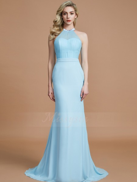Trumpet/Mermaid Sleeveless Sweep/Brush Train Chiffon Scoop Bridesmaid Dresses