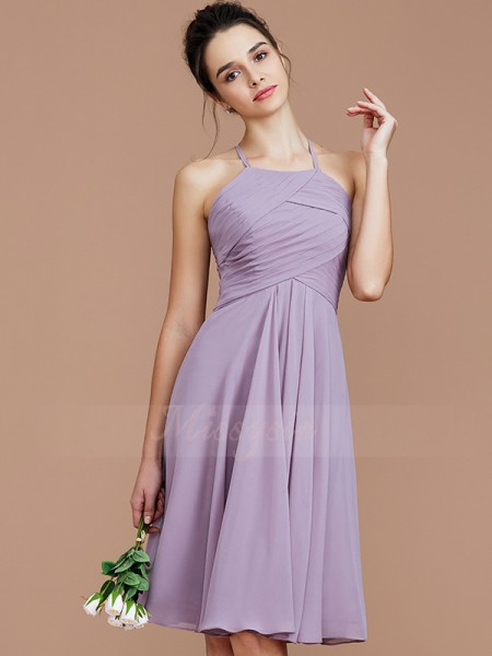 A-Line/Princess Sleeveless Ruched Short/Mini Chiffon Halter Bridesmaid Dresses