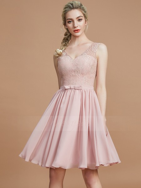 A-Line/Princess Sleeveless Short/Mini Chiffon V-neck Bridesmaid Dresses