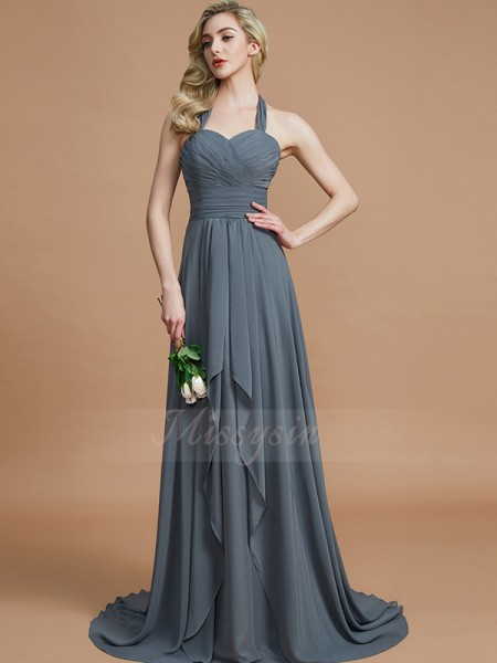 A-Line/Princess Sleeveless Sweep/Brush Train Chiffon Halter Bridesmaid Dresses