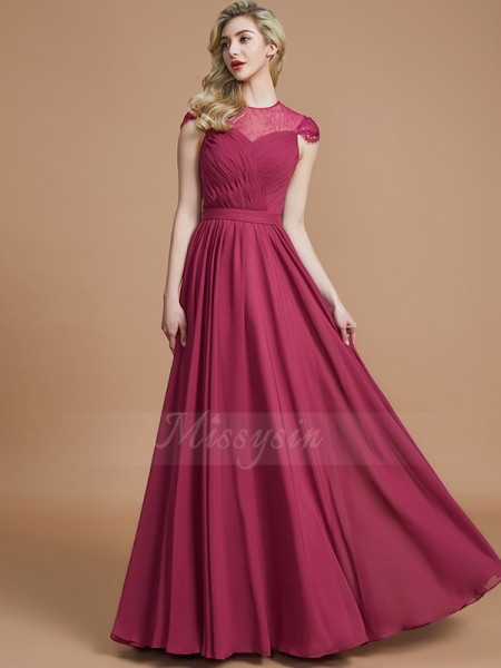A-Line/Princess Short Sleeves Floor-Length Chiffon Scoop Bridesmaid Dresses