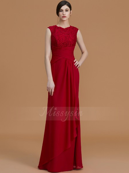 Sheath/Column Sleeveless Floor-Length Chiffon Jewel Bridesmaid Dresses