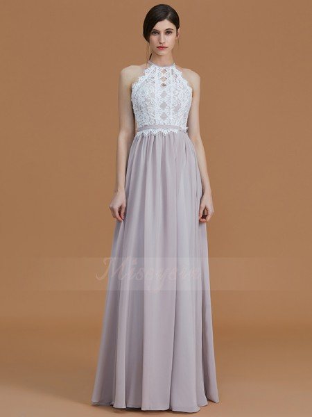 A-Line/Princess Sleeveless Floor-Length Chiffon Halter Bridesmaid Dresses